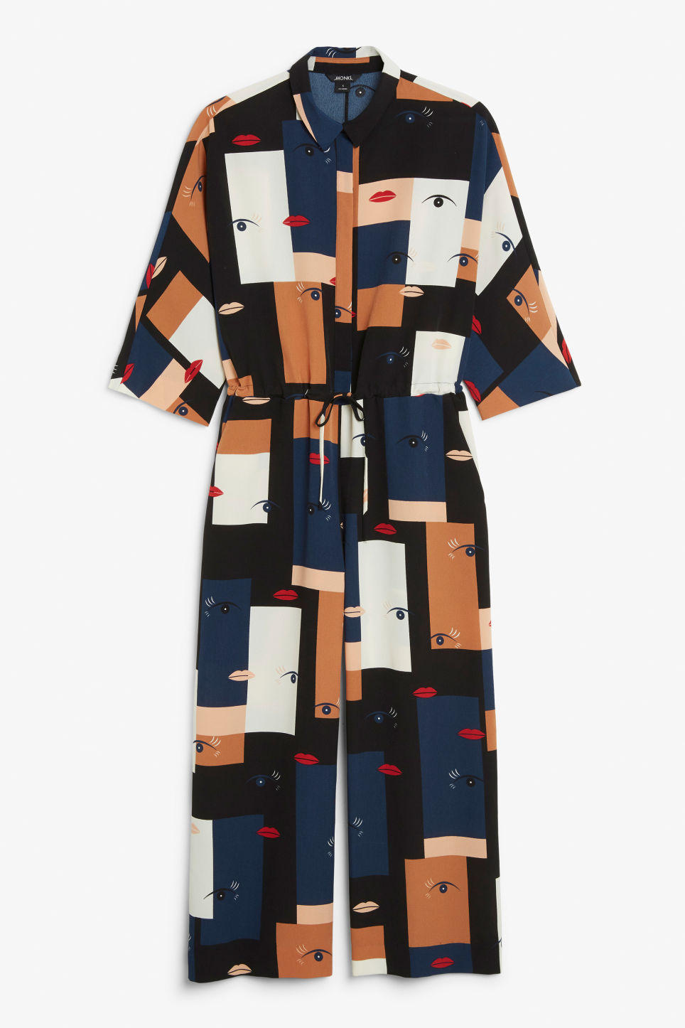 Front image of Monki wide fitting jumpsuit  in blue
