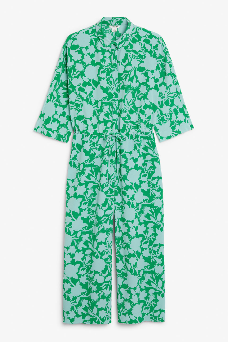Front image of Monki wide fitting jumpsuit  in green
