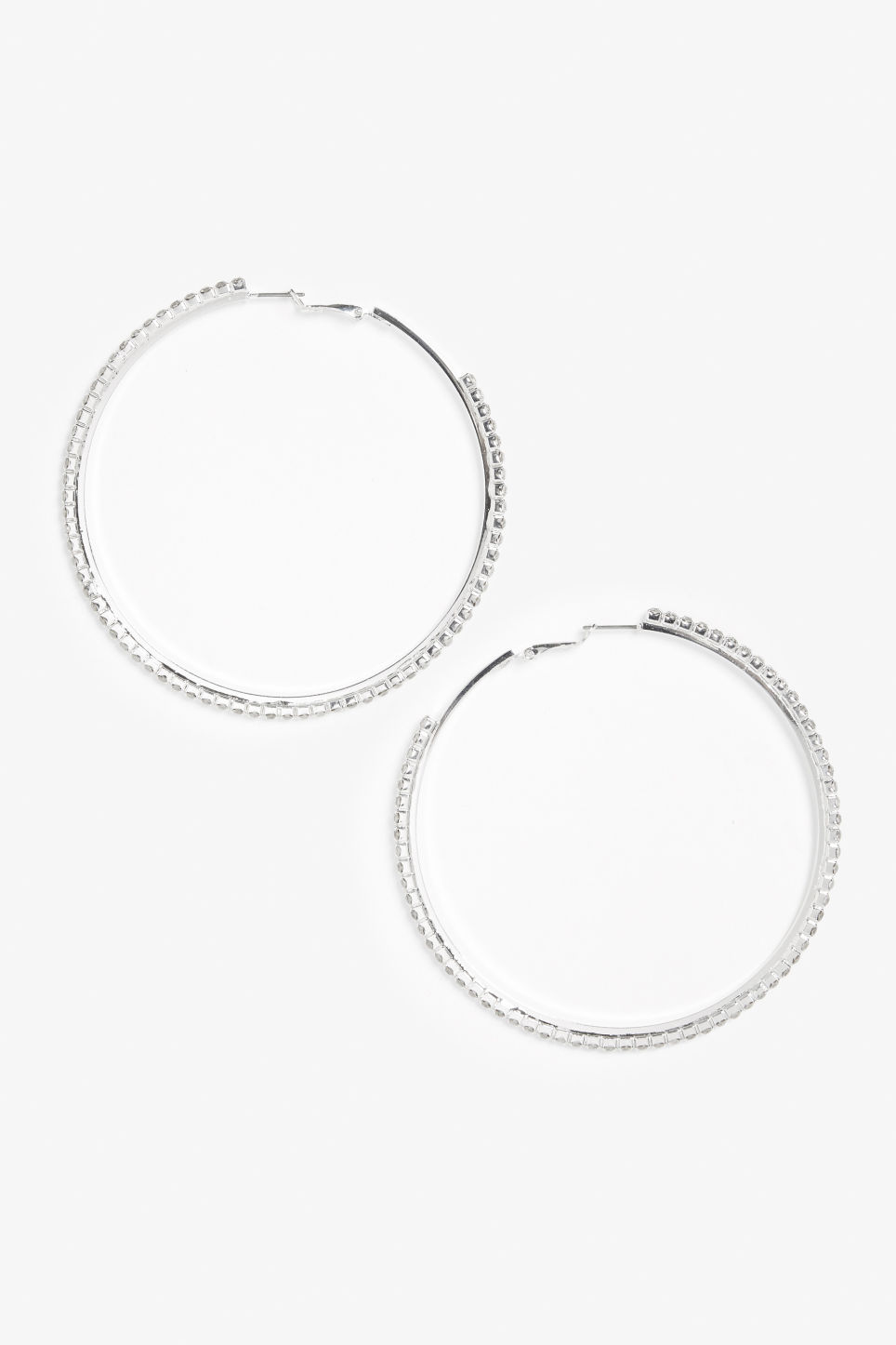 Front image of Monki large studded hoops in silver