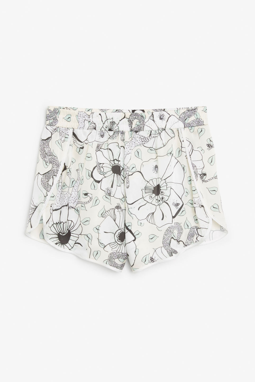 Front image of Monki satin shorts in white