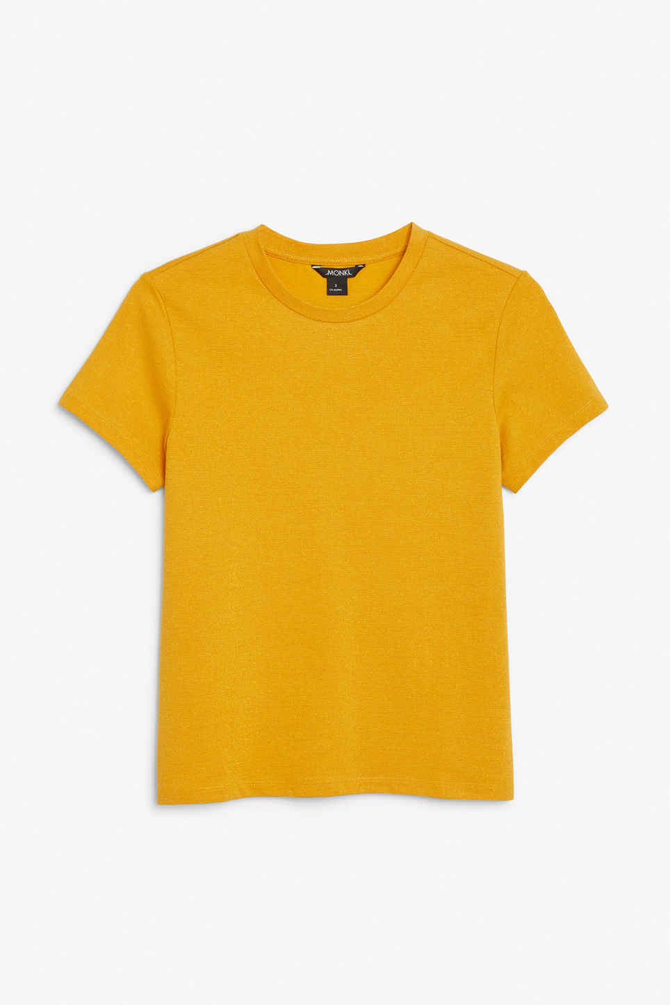 Front image of Monki glitter cotton tee in yellow