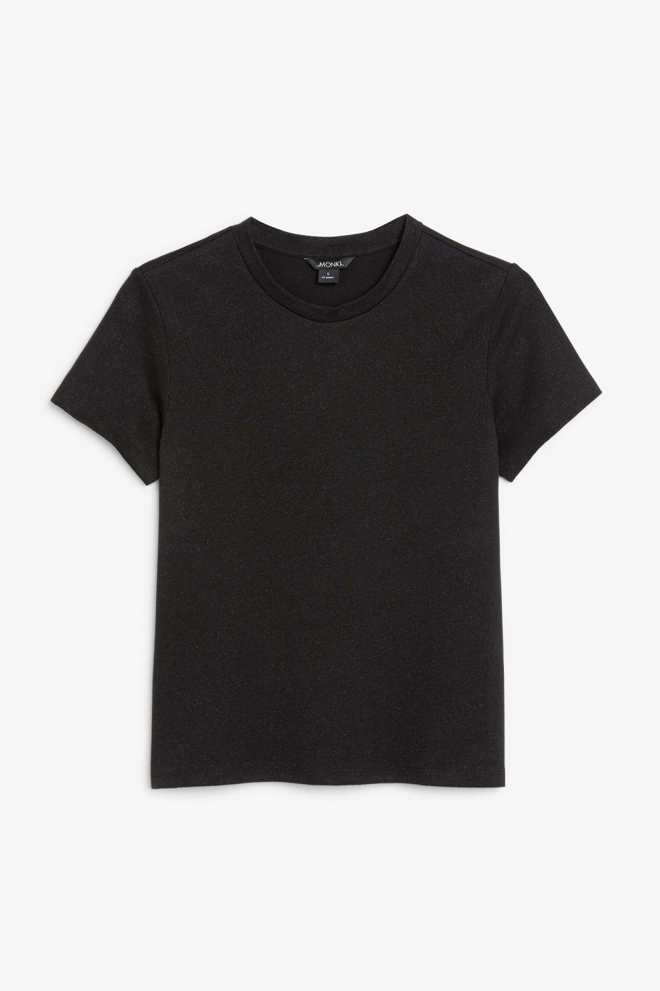 Front image of Monki glitter cotton tee in black