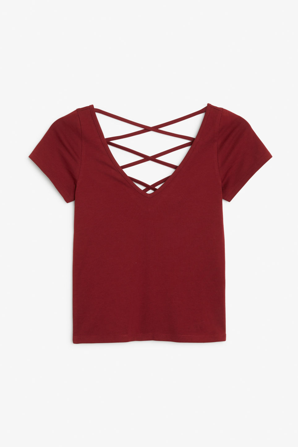 Front image of Monki v-neck top in red