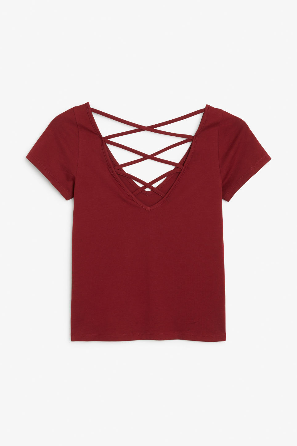 Back image of Monki v-neck top in red