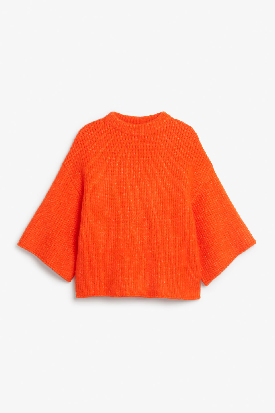Front image of Monki bell sleeve knit sweater in orange