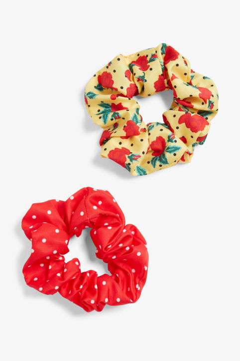 Front image of Monki pack of two scrunchies in yellow