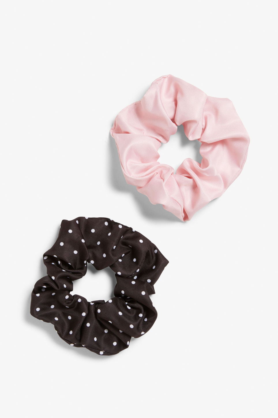 Front image of Monki pack of two scrunchies in pink