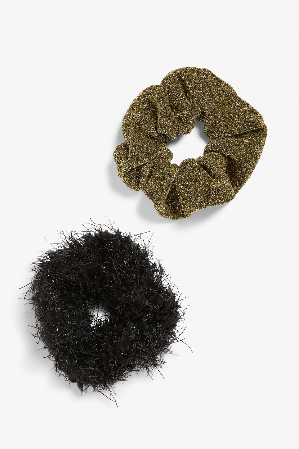 Front image of Monki pack of two scrunchies in gold