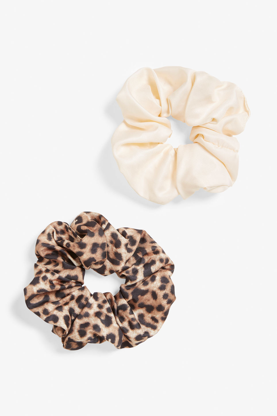 Front image of Monki pack of two scrunchies in beige