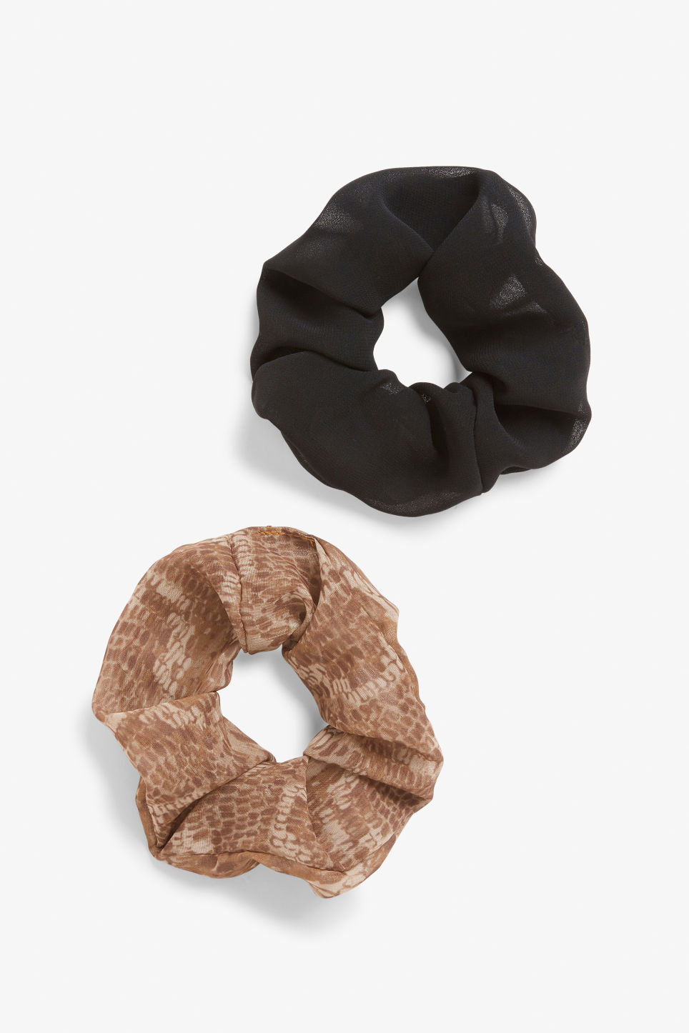 Front image of Monki pack of two scrunchies in black