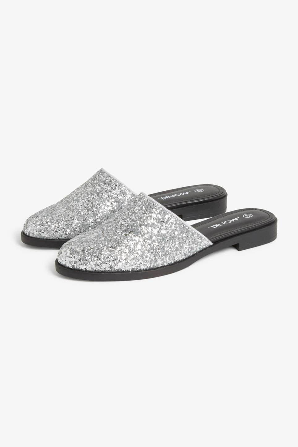 Front image of Monki glitter mules in silver