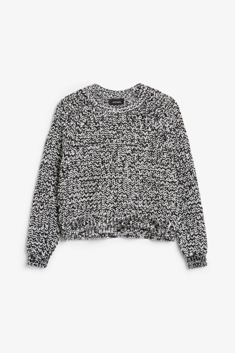 Front image of Monki knitted sweater in black