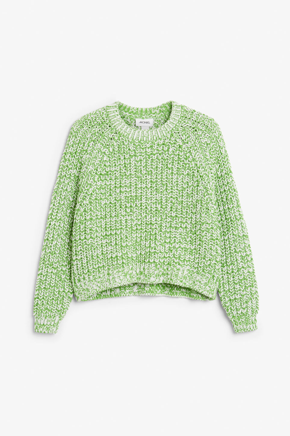 Front image of Monki knitted sweater in green
