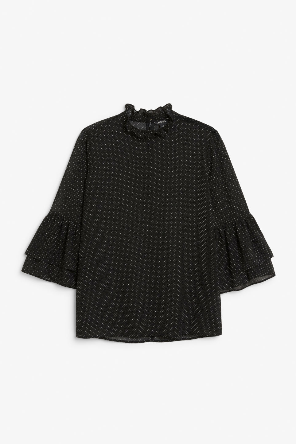 Front image of Monki trumpet sleeved blouse in black