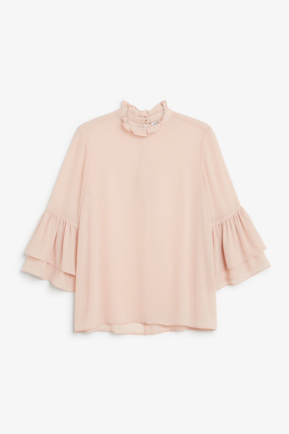 Front image of Monki trumpet sleeved blouse in orange