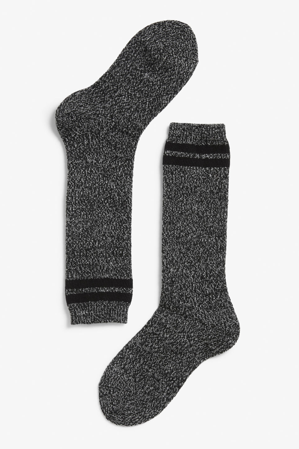 Front image of Monki mix knit sock in black