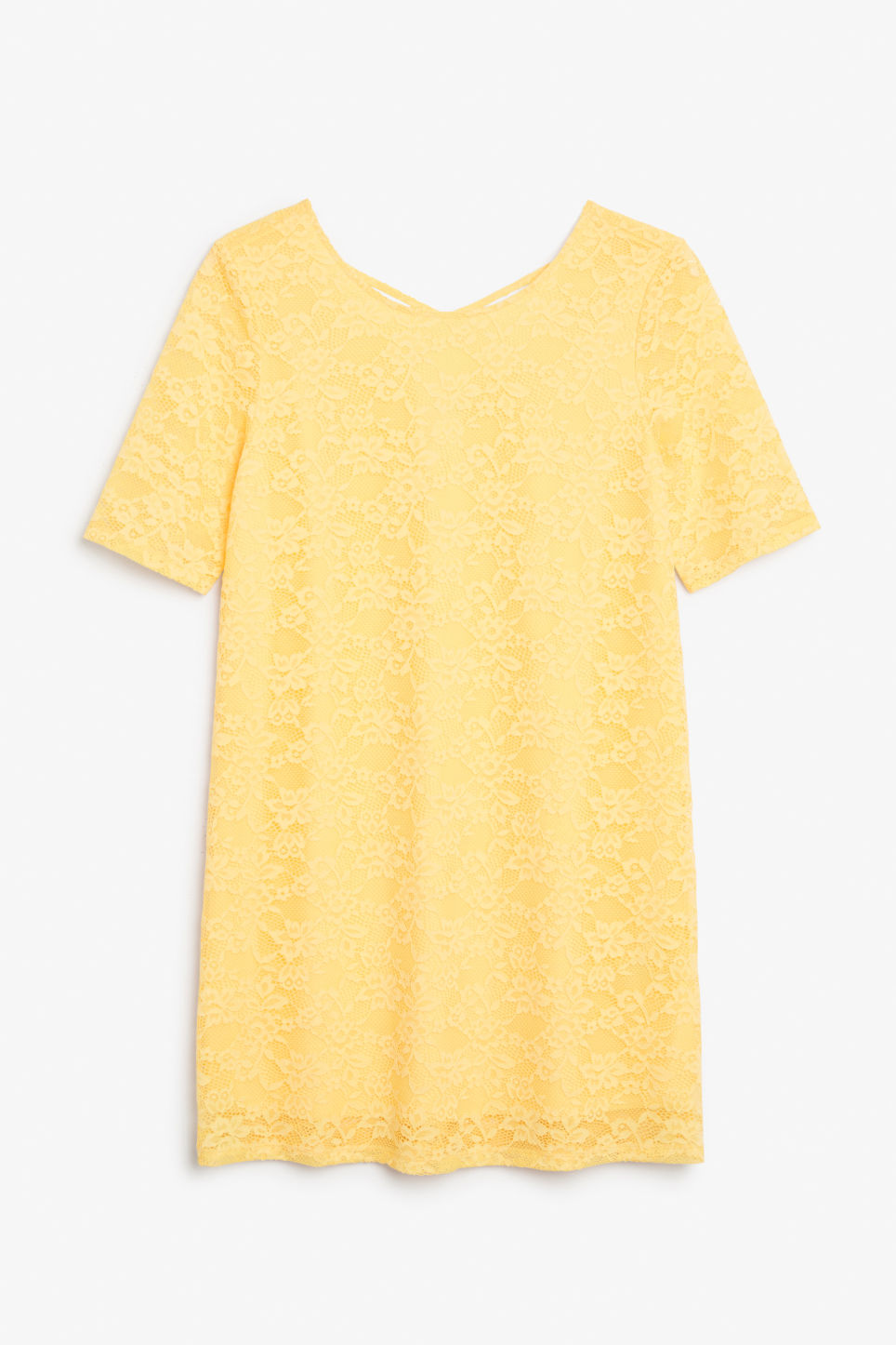 Front image of Monki scoop neck lace dress in yellow
