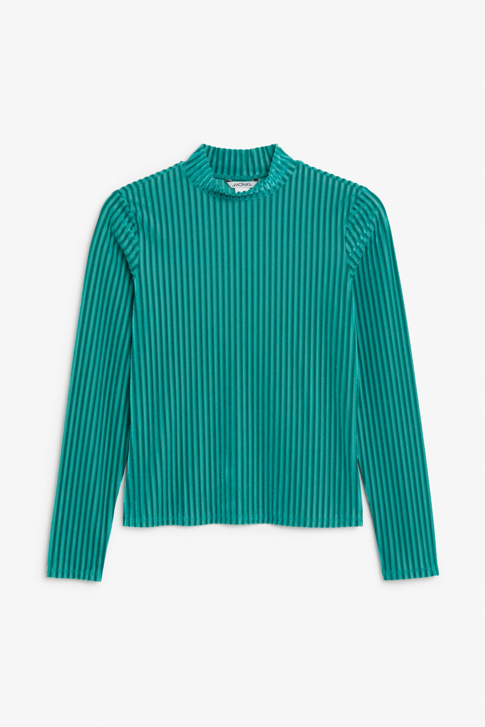 Front image of Monki velvet polo top in turquoise