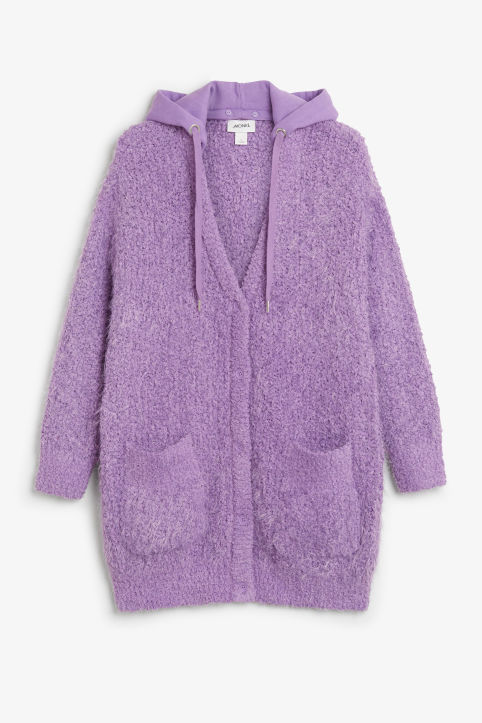 Front image of Monki oversize hood cardigan in purple