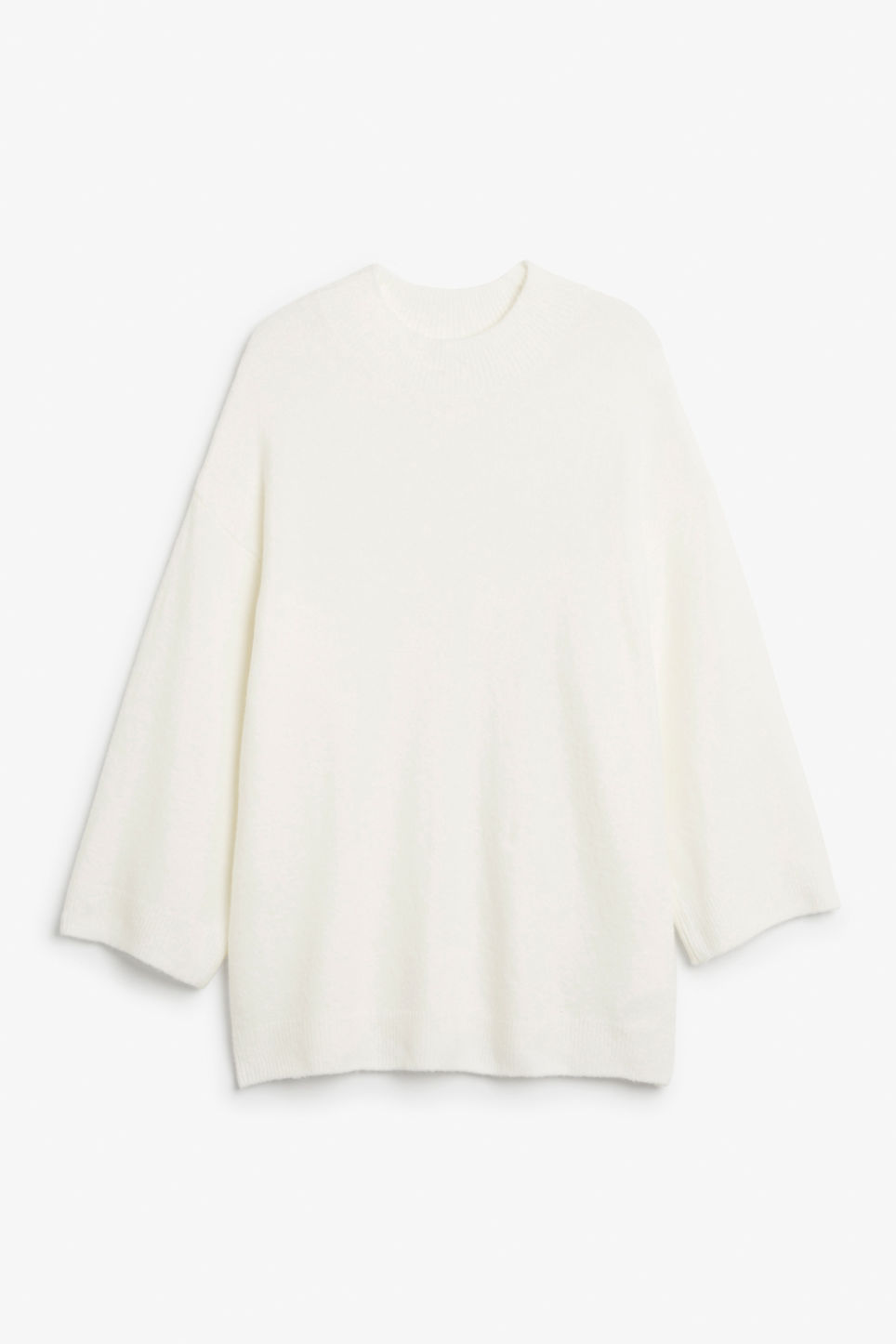 Front image of Monki long knit sweater in white