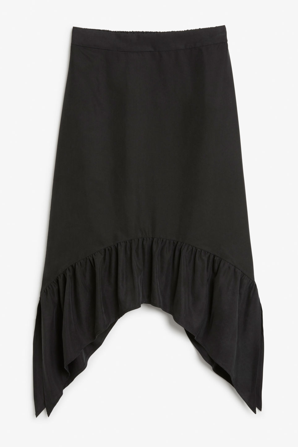 Front image of Monki asymmetrical ruffle skirt in black