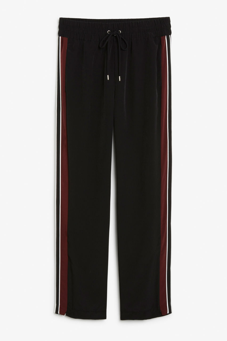 Front image of Monki side stripe trousers in black