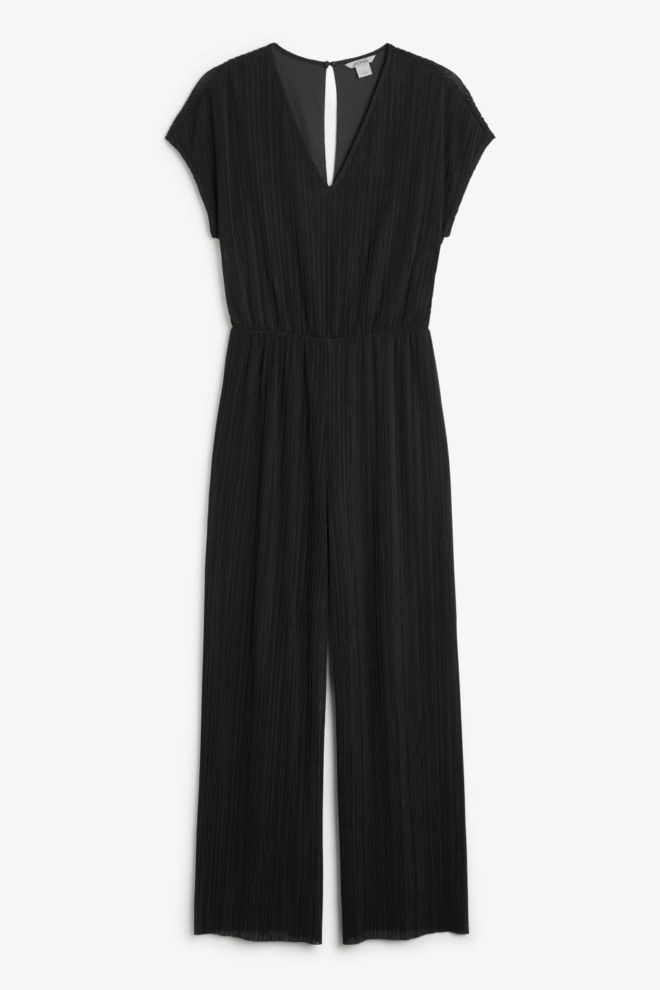Front image of Monki pleated jumpsuit in black