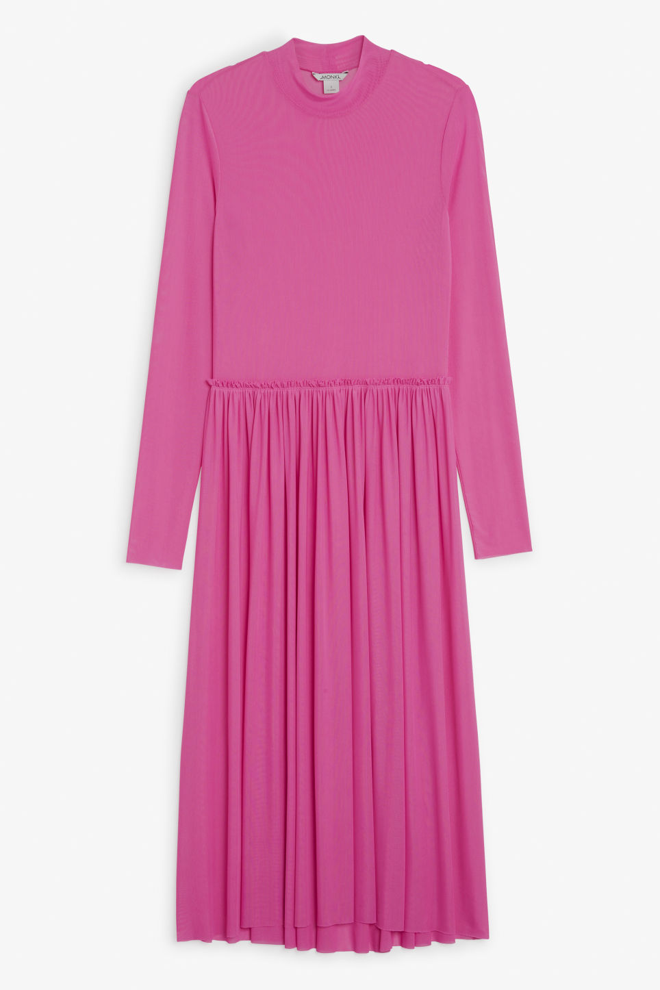 Front image of Monki long dress with gathered waist in pink
