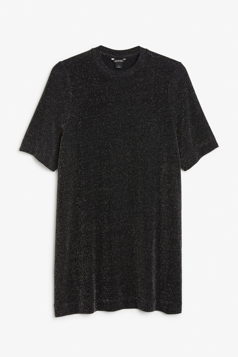Front image of Monki metallic t-shirt dress in black