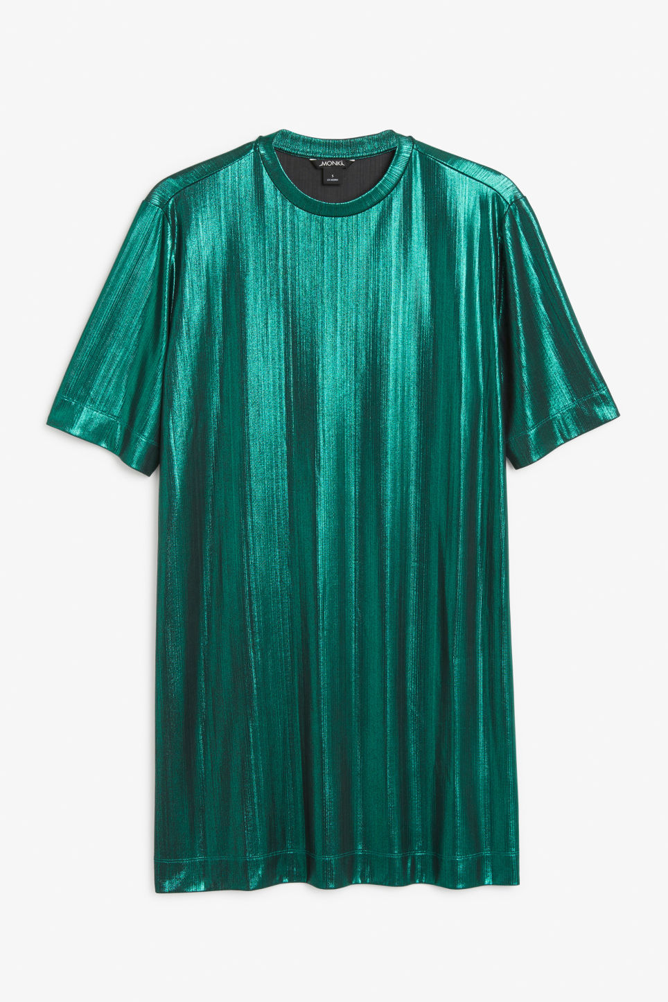 Front image of Monki metallic t-shirt dress in turquoise
