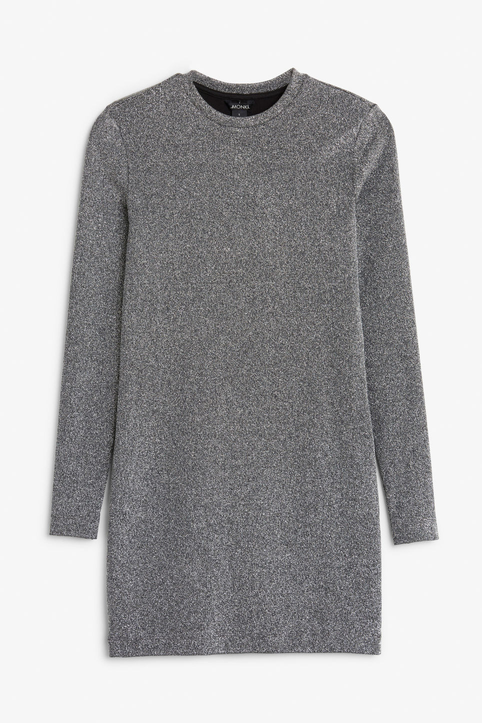 Front image of Monki long-sleeved dress in black