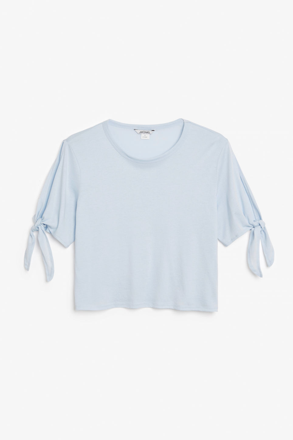 Front image of Monki cropped tee with knot detail in blue
