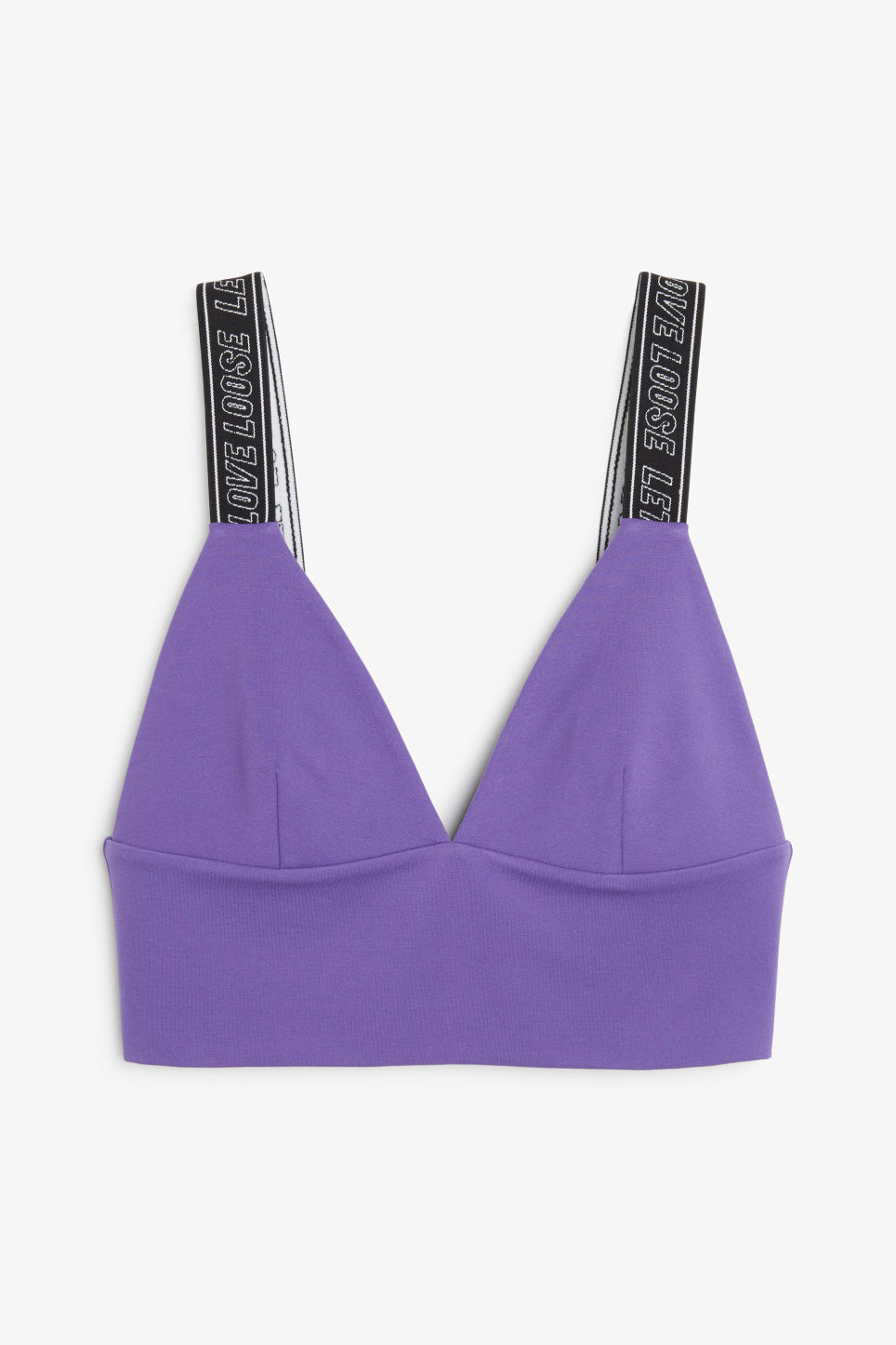 Front image of Monki bra top with straps in purple