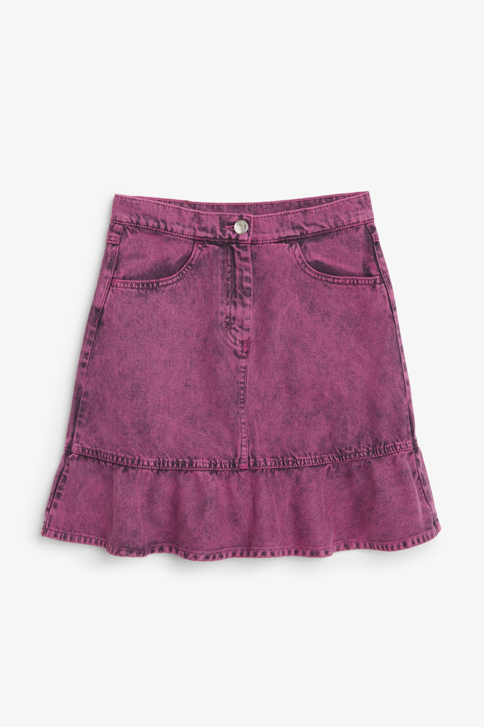 Front image of Monki denim ruffle skirt in pink