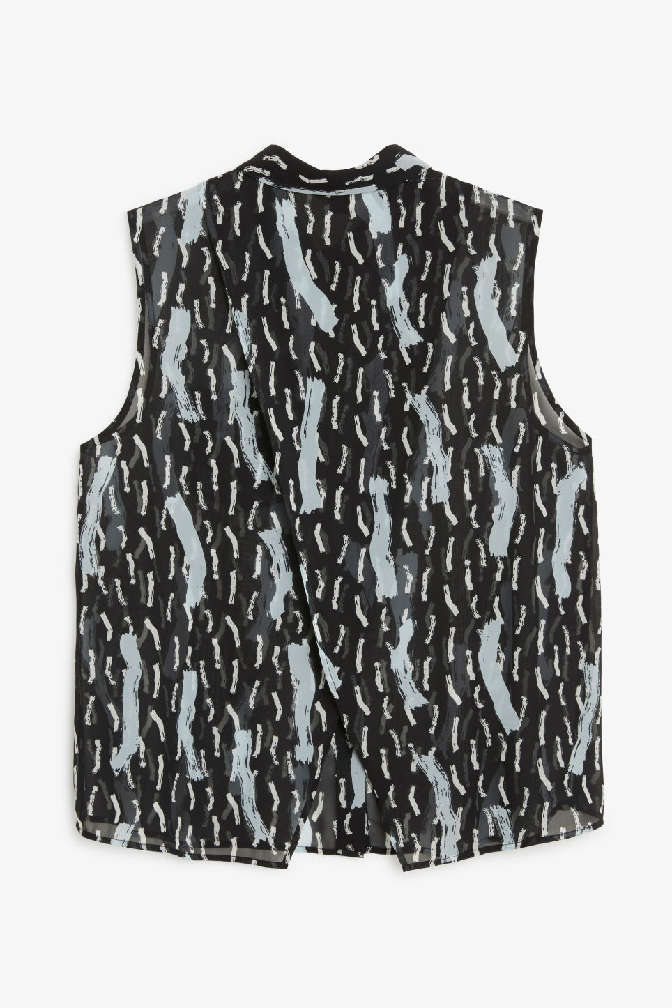 Back image of Monki sleeveless back overlap blouse in black