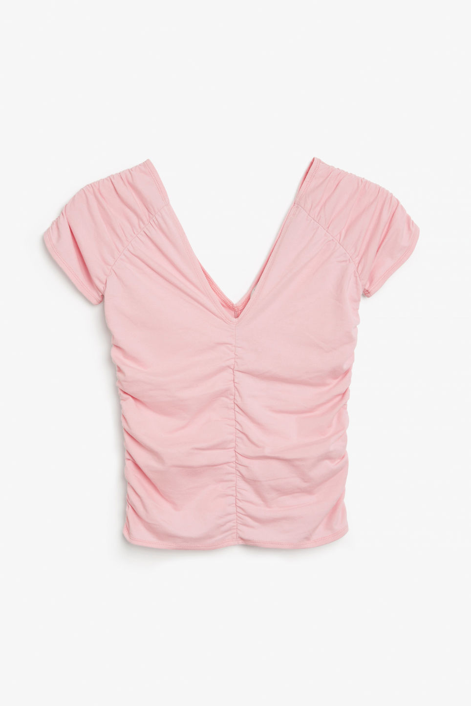 Front image of Monki ruched top in pink