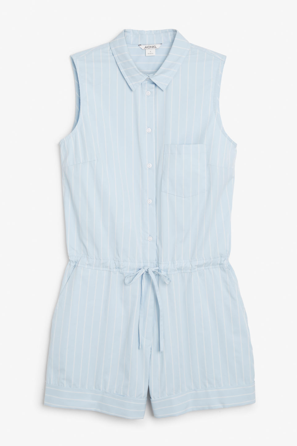 Front image of Monki sleeveless playsuit in blue