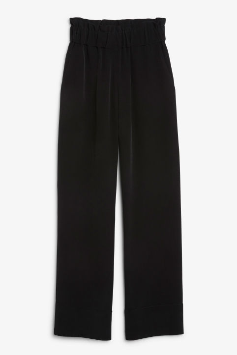 Front image of Monki pyjama suit trousers in black