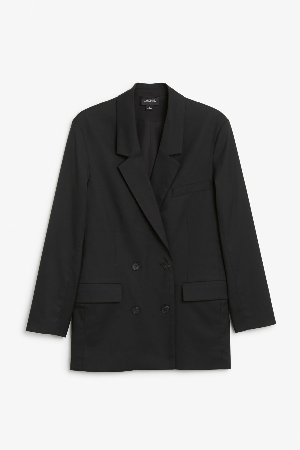Front image of Monki double-breasted blazer in black