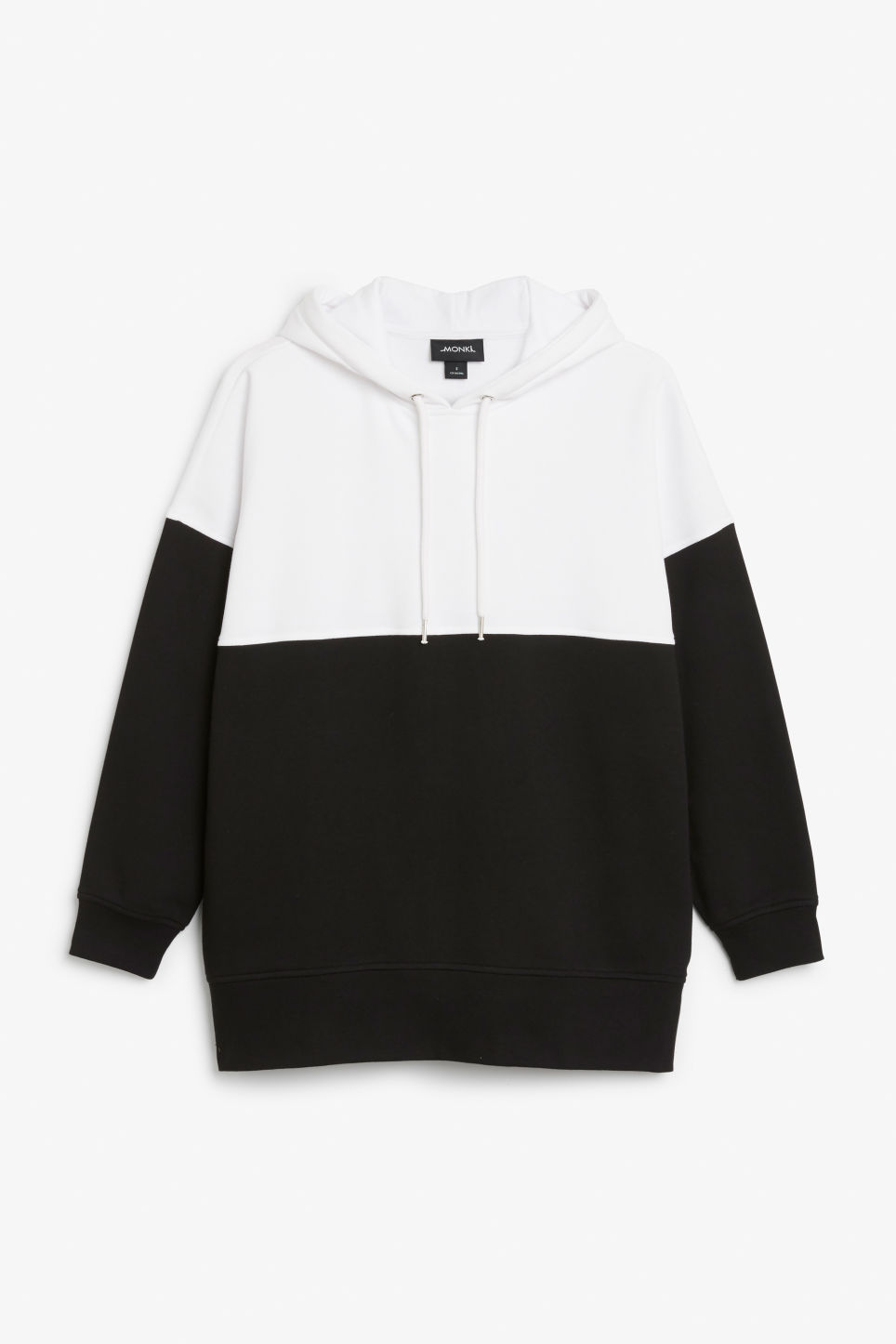 Front image of Monki colour block hoodie in black