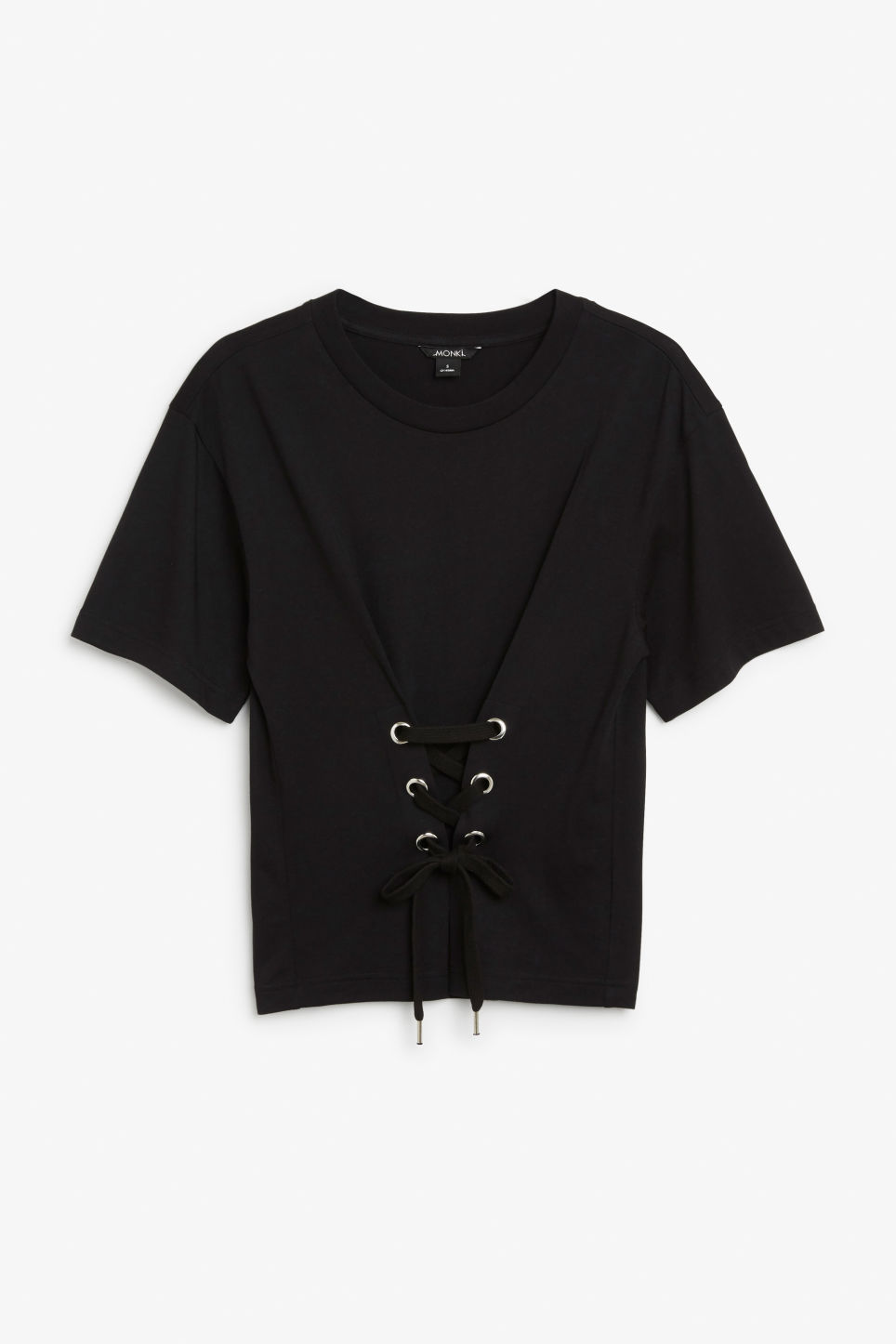 Front image of Monki corset detail tee in black