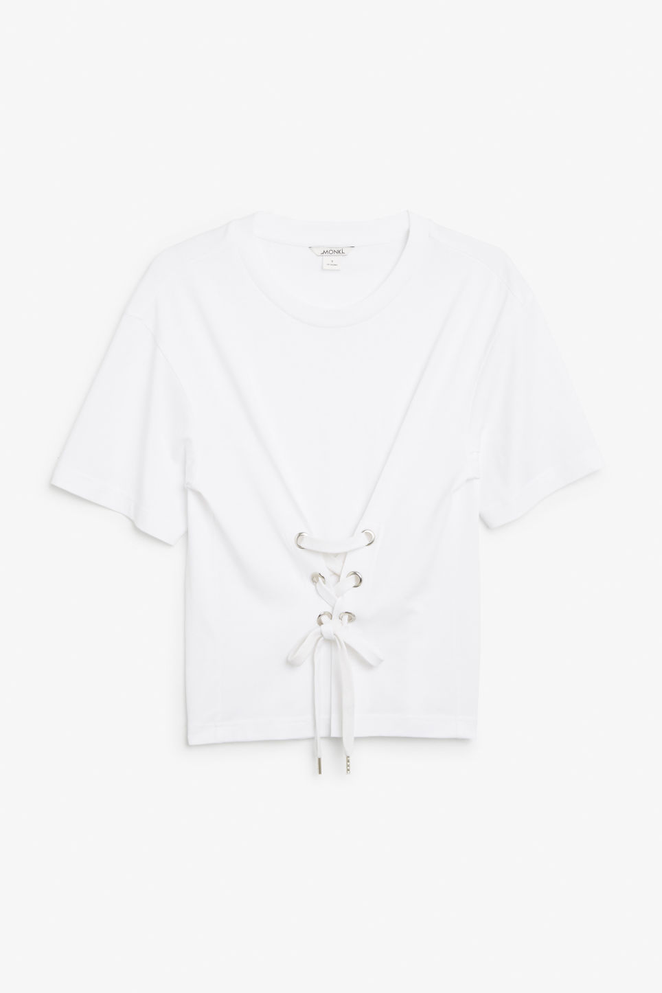Front image of Monki corset detail tee in white