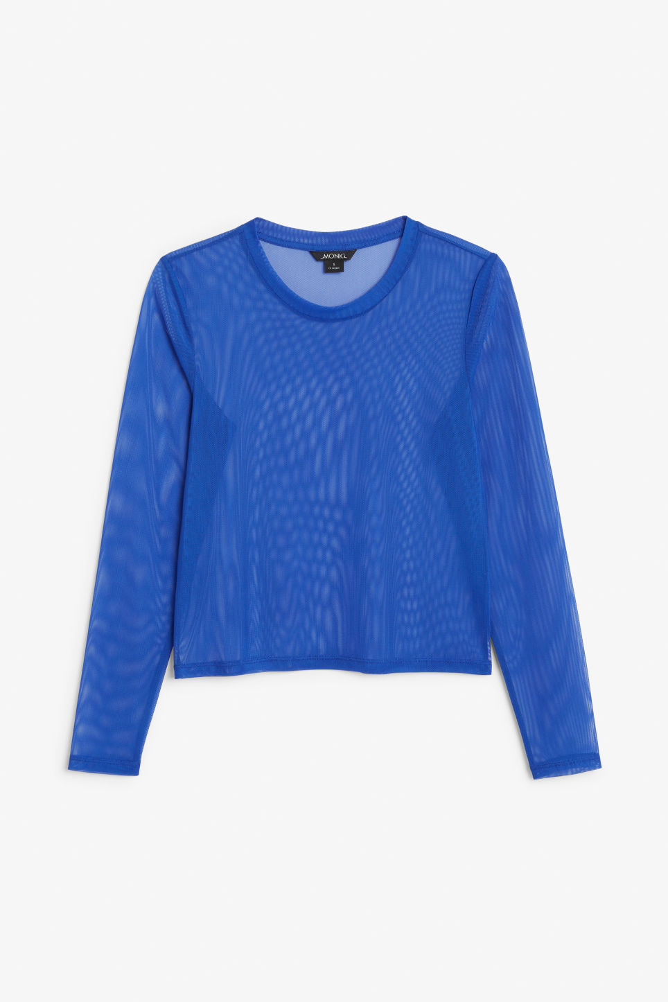 Front image of Monki mesh cropped top in blue
