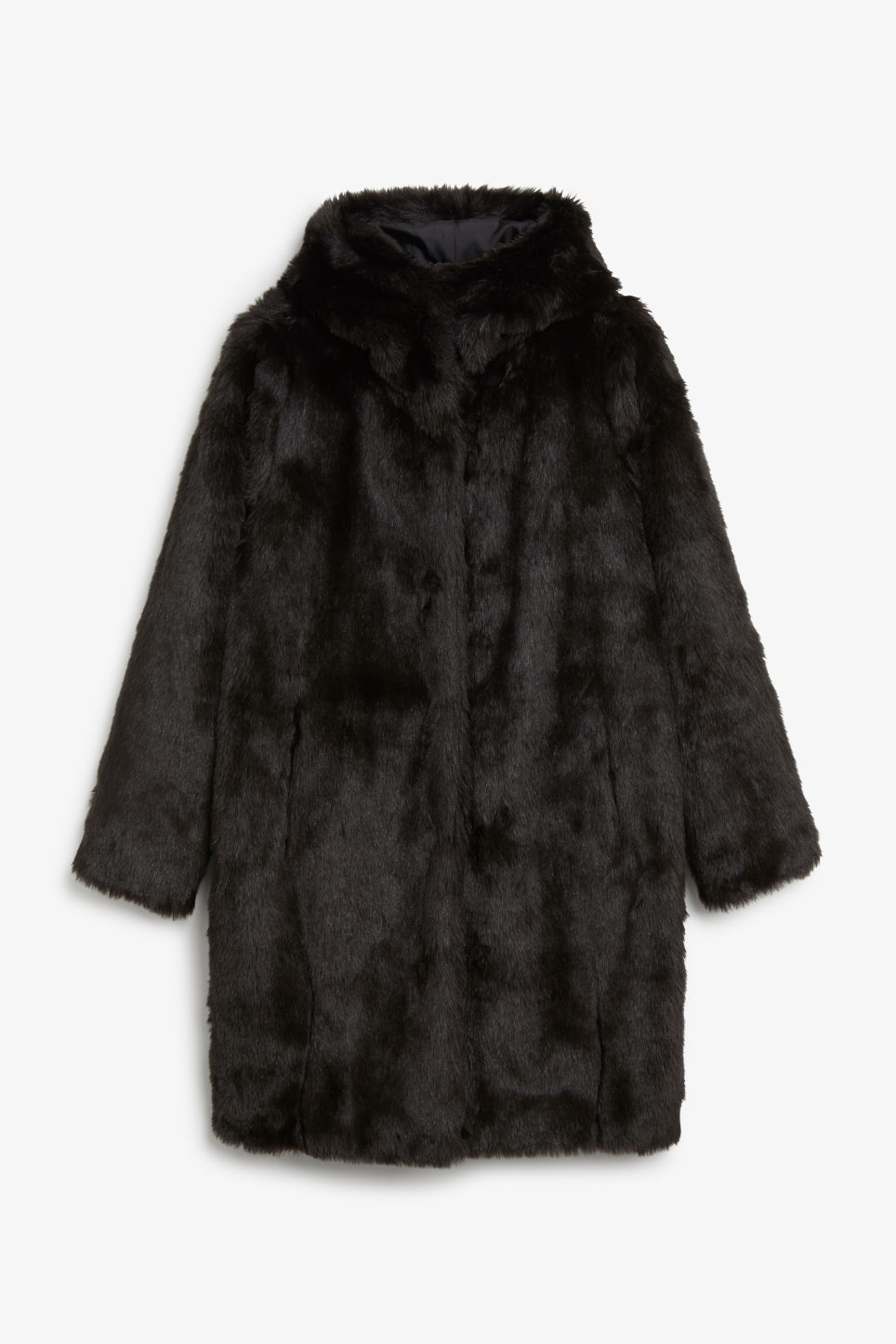 Front image of Monki hooded faux fur coat in black