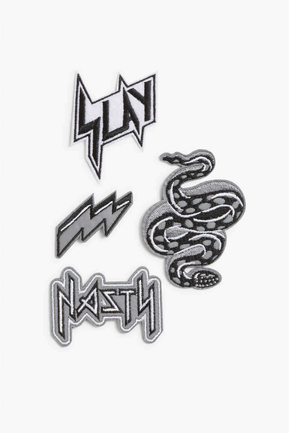 Front image of Monki iron on patches in black