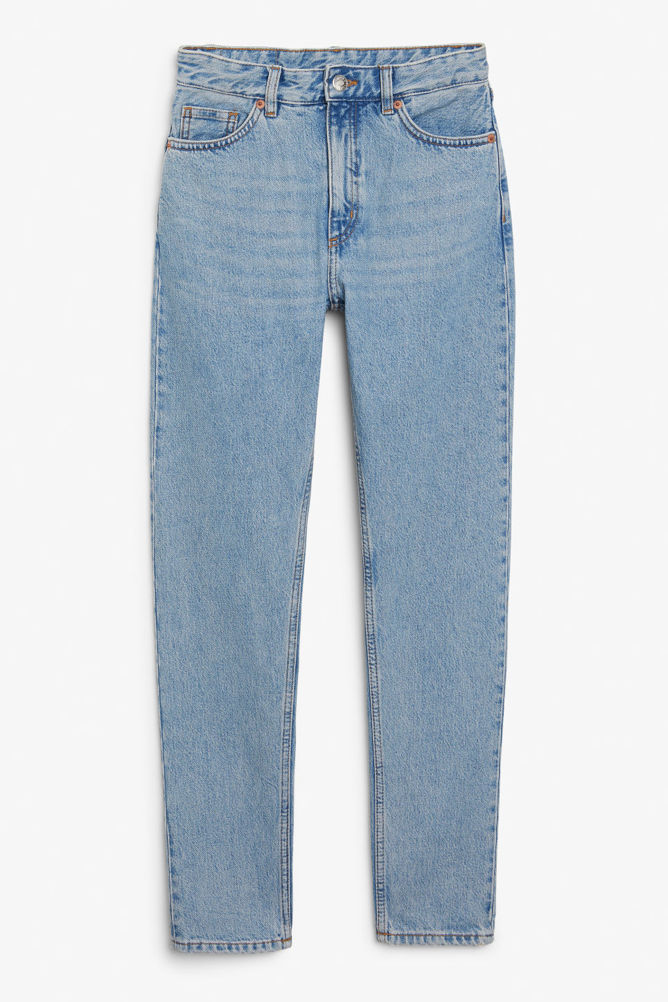 Front image of Monki kimomo mid blue x-long jeans in blue
