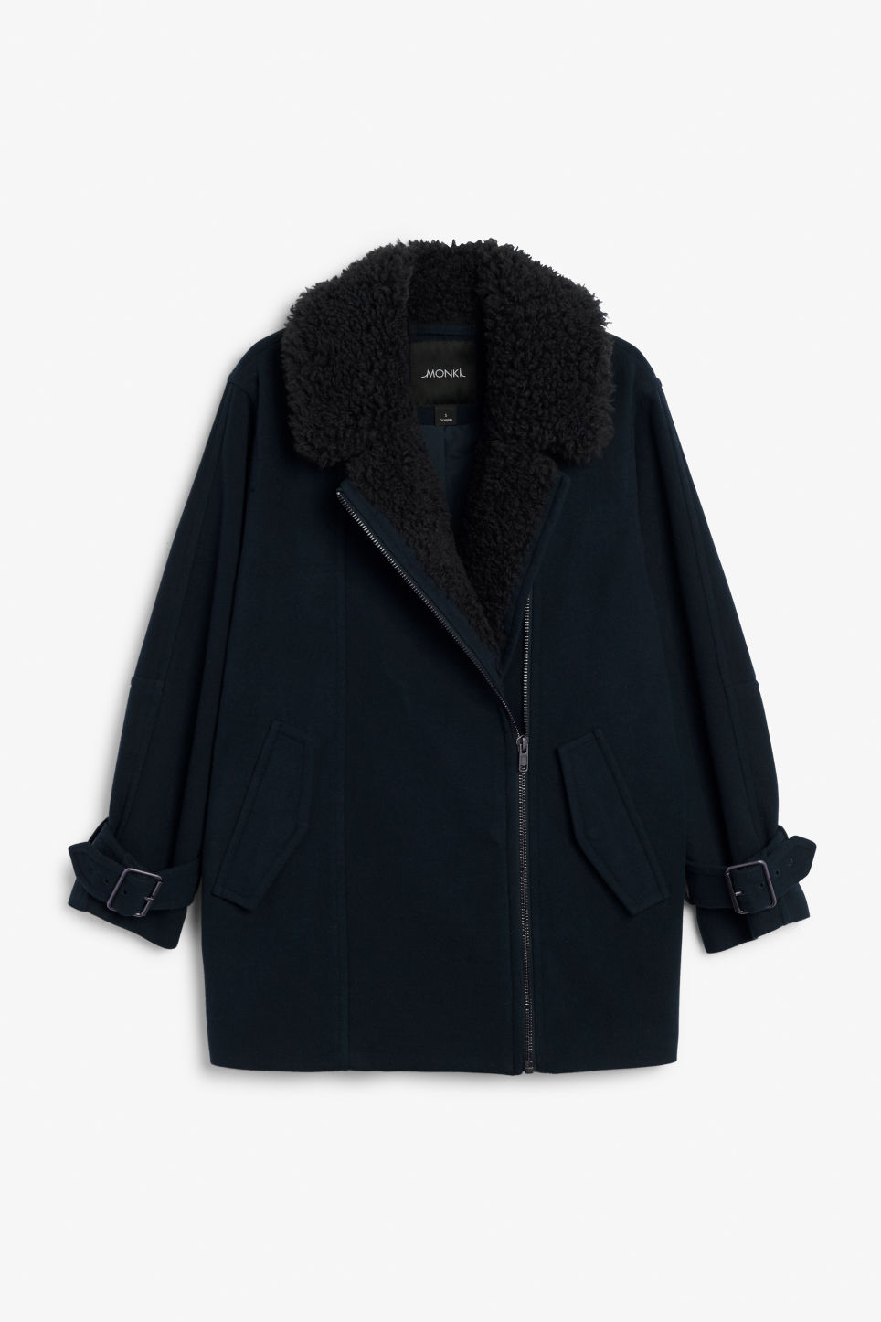 Front image of Monki coat with faux shearling collar in black