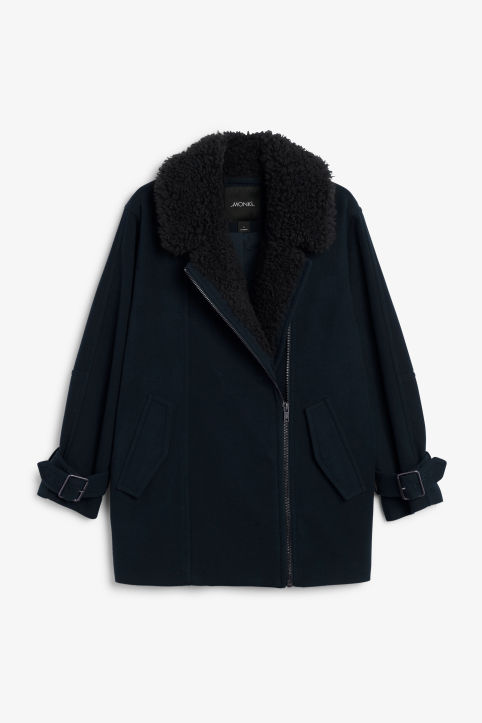 Coat with faux shearling collar