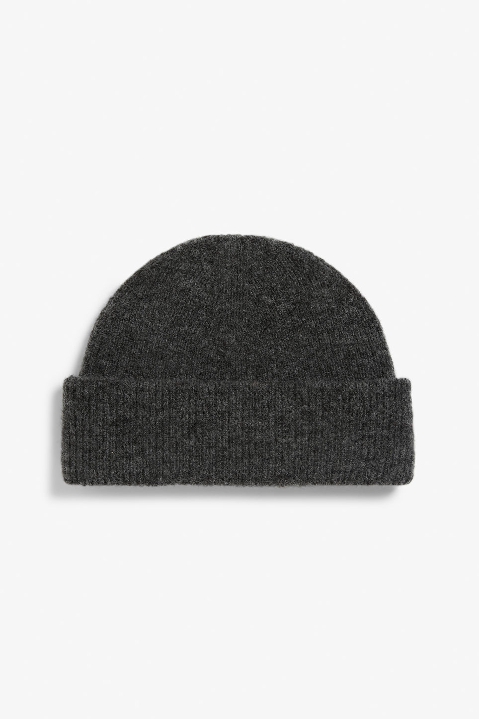 Front image of Monki soft ribbed beanie in grey