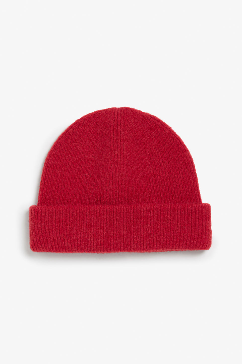 Front image of Monki soft ribbed beanie in red